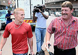 "The relationship between Tiedt and Becker soured in 2008 when Tiedt assaulted Becker in a fist fight after Becker's parents sent two SMS text messages referring to Tiedt's parents as ""poor"" and ""common"".  Here Tiedt is seen with his father Chris."