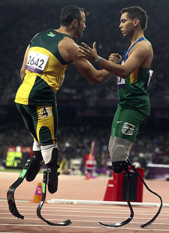 Oscar Pistorius was facing disciplinary action over his extraordinary outburst after  his defeat by Brazilian Alan Oliveira.  After the race, the 25-year-old South African launched a tirade against his rival, accusing him of using blades that gave him an unfair advantage.