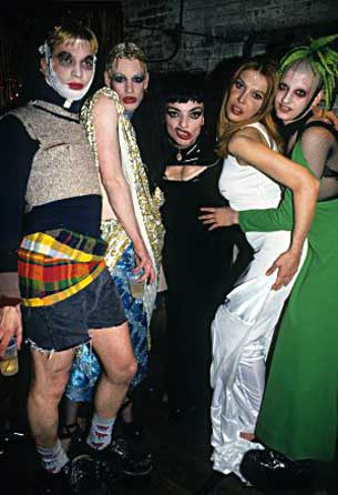 Club Kids Michael Alig, Richie Rich, Nina Hagen, Sophia Lamar and Jennytalia attend New Year's Eve 1994 festivities at Club USA in New York City.