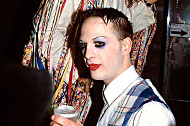 "Michael Alig in full costume at ""The Tunnel"" nightclub in 1993"
