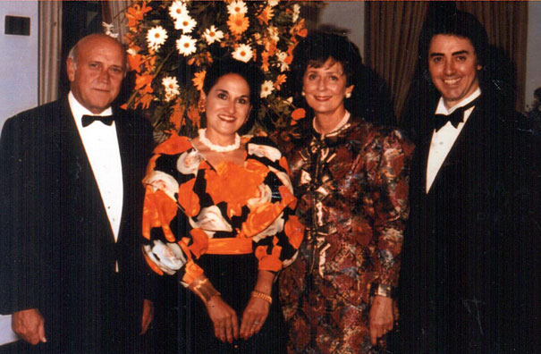 Mr and Mrs De Klerk with her favourite designer, Chris Levin and his wife, Alexandra