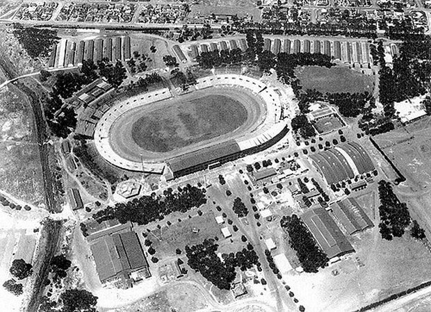 An aerial view of the Goodwood Showgrounds area - today the Grand West Casino complex